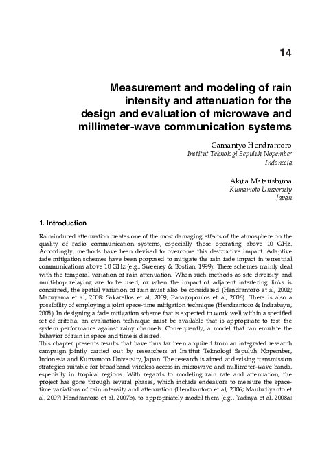 Pdf Measurement And Modeling Of Rain