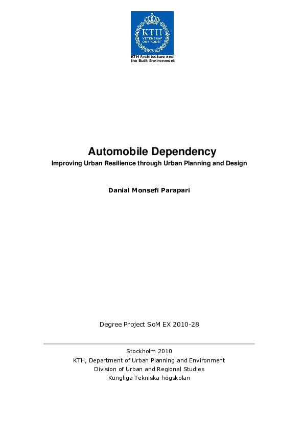 PDF) Automobile Dependency: Improving urban resilience