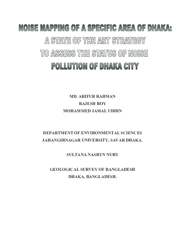 PDF) Noise Mappinf of A Specific Area of Dhaka City: A State of the