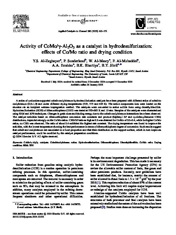 Pdf Activity Of Comogamma Al2o3 As A Catalyst In