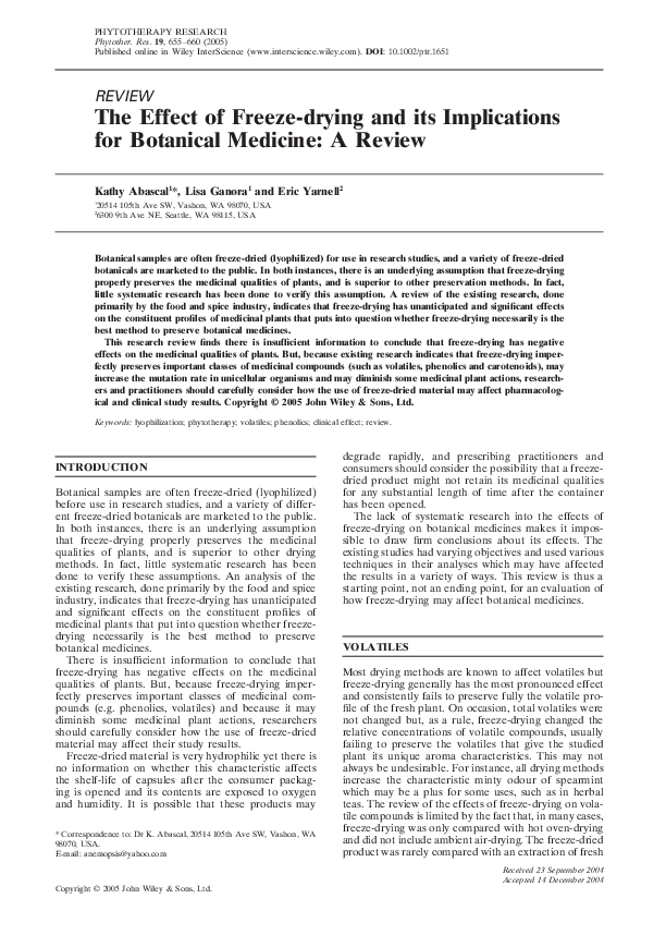 PDF) The effect of freeze‐drying and its implications for