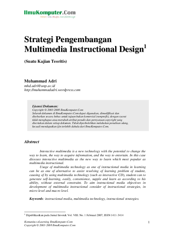Pdf Strategi Pengembangan Multimedia Instructional Design Muhammad Adri Academia Edu