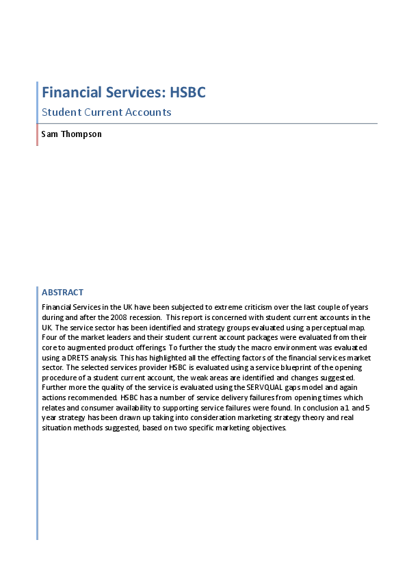 DOC) Financial Services: HSBC | Sam Thompson - Academia edu