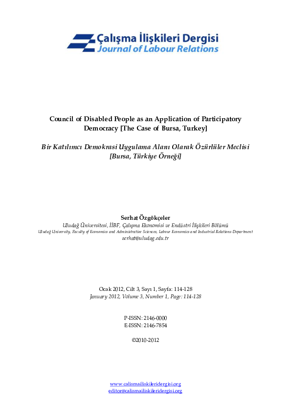 Pdf Council Of Disabled People As An Application Of Participatory