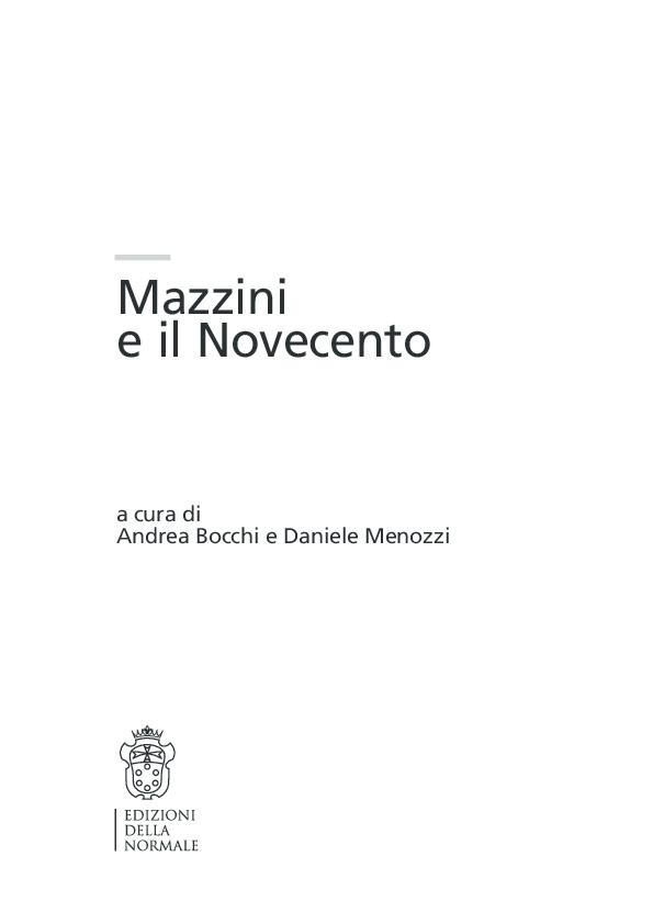(PDF) Mazzini e il Novecento. Atti del convegno Pisa, 9-11 ...