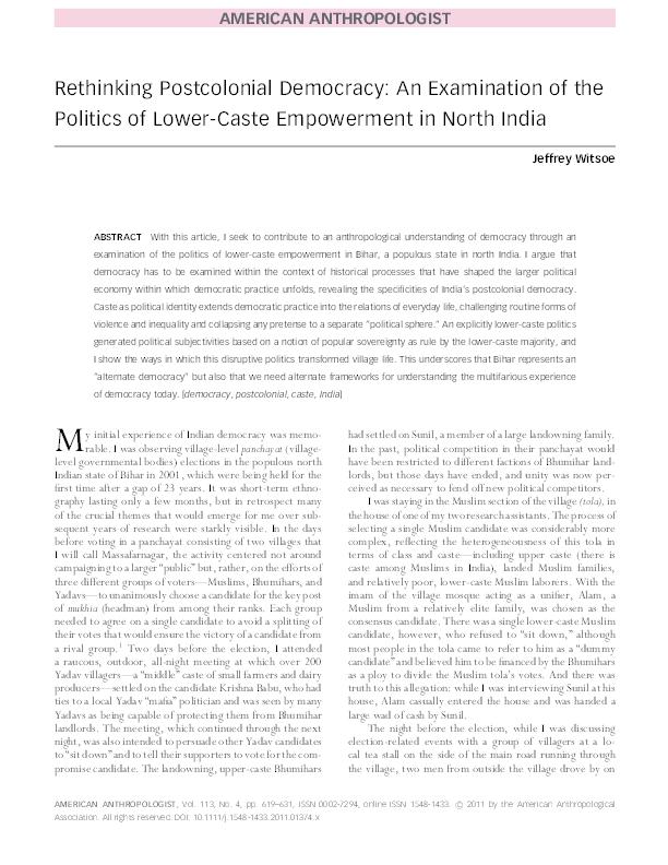 PDF) Rethinking Postcolonial Democracy: An Examination of
