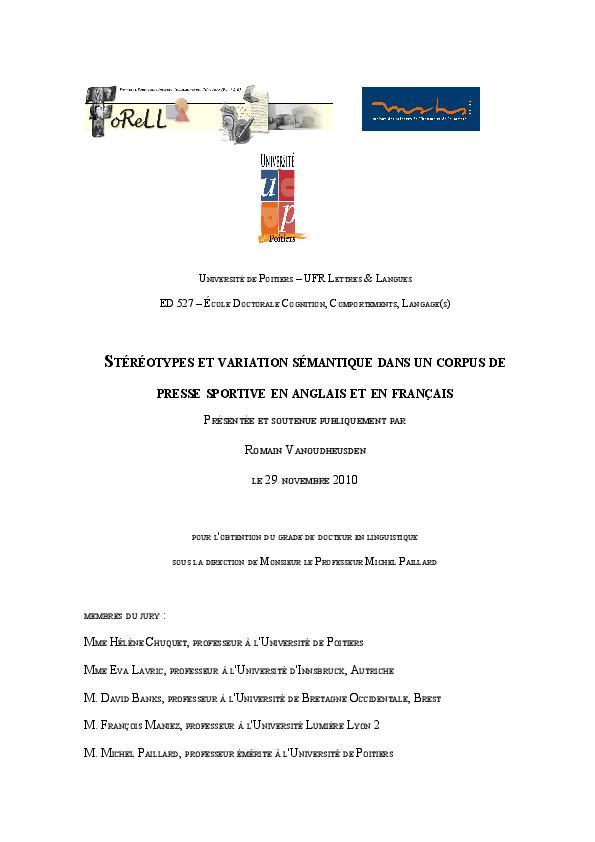 buy online dfed5 e5650 PDF) Stéréotypes et variation sémantique dans un corpus de presse ...