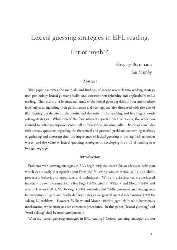 PDF) Lexical guessing strategies in EFL reading  Hit or myth? | Ian