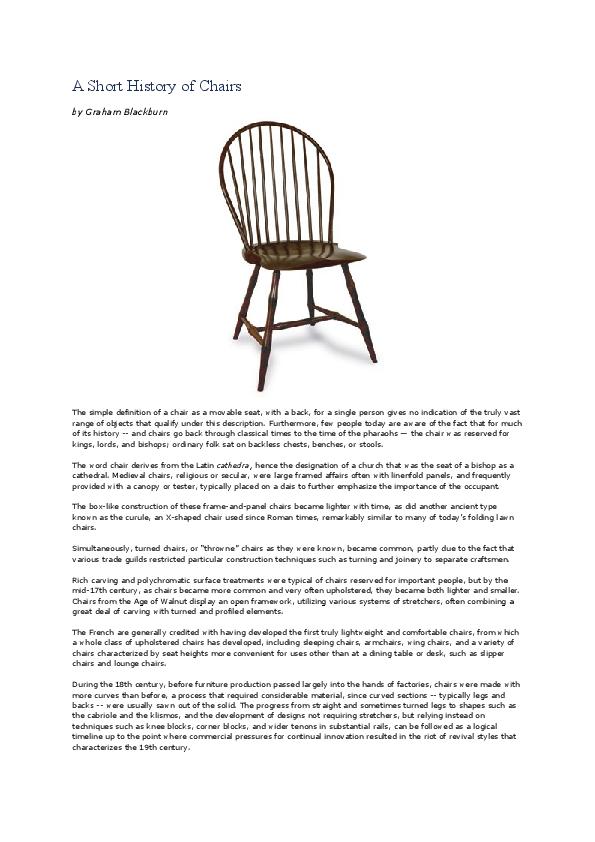 Doc A Short History Of Chairs Yohanes Siagian Academia Edu