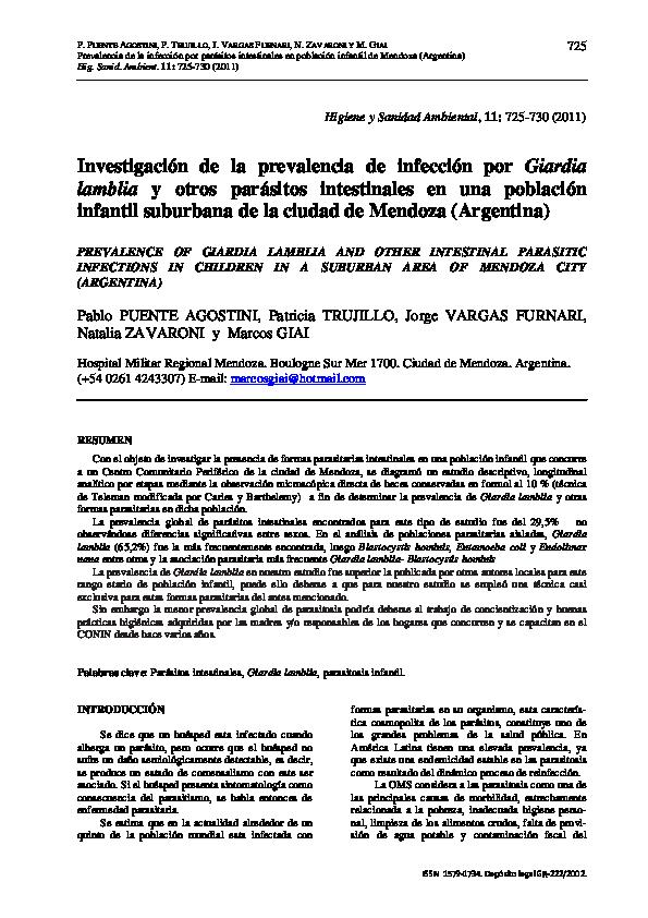 infección parasitaria intestinal