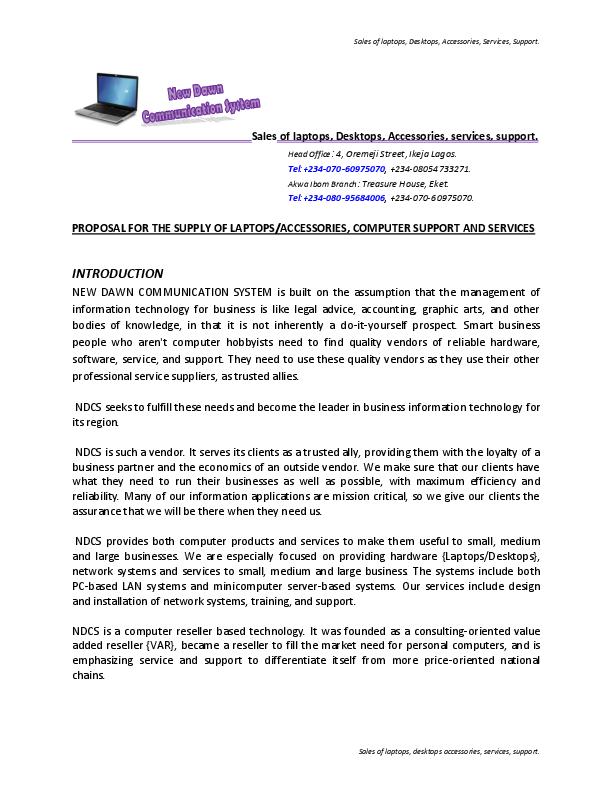 DOC) SAMPLE OF BUSINESS PROPOSAL | Aledare Jude - Academia edu