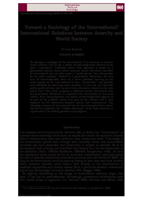 PDF) sociology of the international | Oliver Kessler