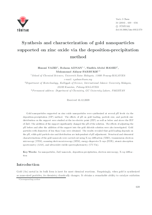 PDF) Synthesis and characterization of gold nanoparticles