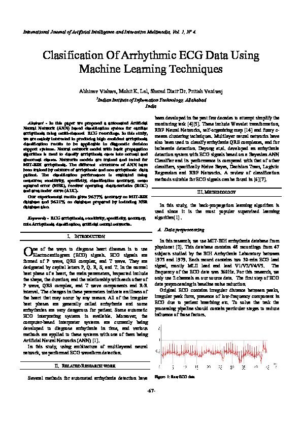 PDF) Clasification Of Arrhythmic ECG Data Using Machine Learning