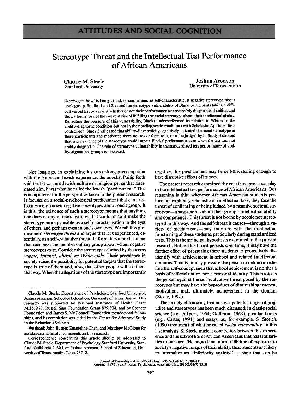 PDF) Stereotype Threat and the Intellectual Test Performance