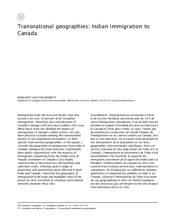 PDF) Transnational geographies: Indian immigration to Canada