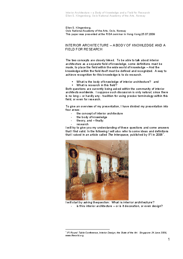 PDF) Interior Architecture - a body of knowledge and a field