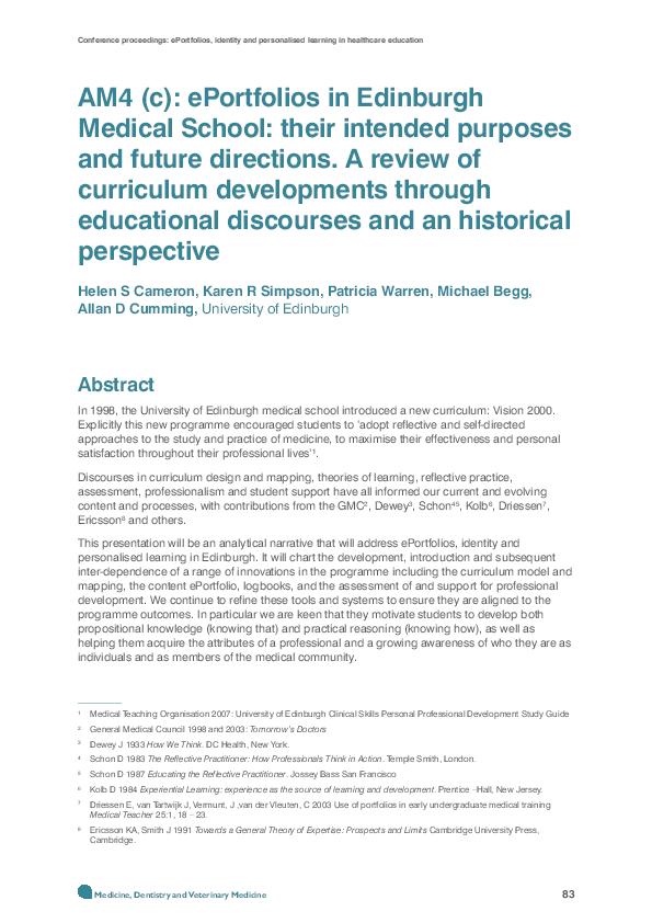PDF) AM4 (c): ePortfolios in Edinburgh Medical School: their