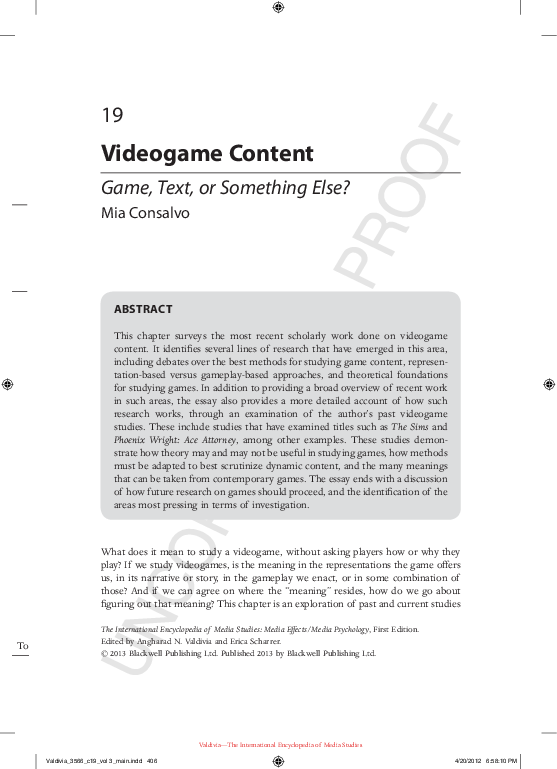 PDF) Videogame Content: Game, Text, or Something Else? | Mia
