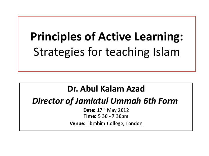 PPT) Principles of Active Learning: Strategies for teaching