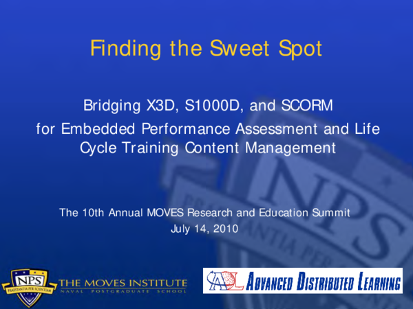 PDF) Finding the Sweet Spot: Bridging X3D, S1000D, and SCORM for