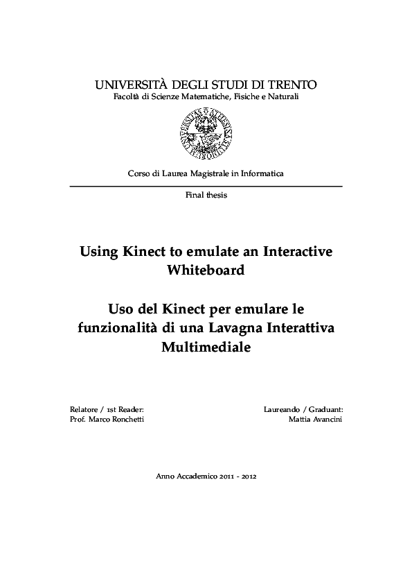 PDF) Using Kinect to emulate an Interactive Whiteboard | Mattia