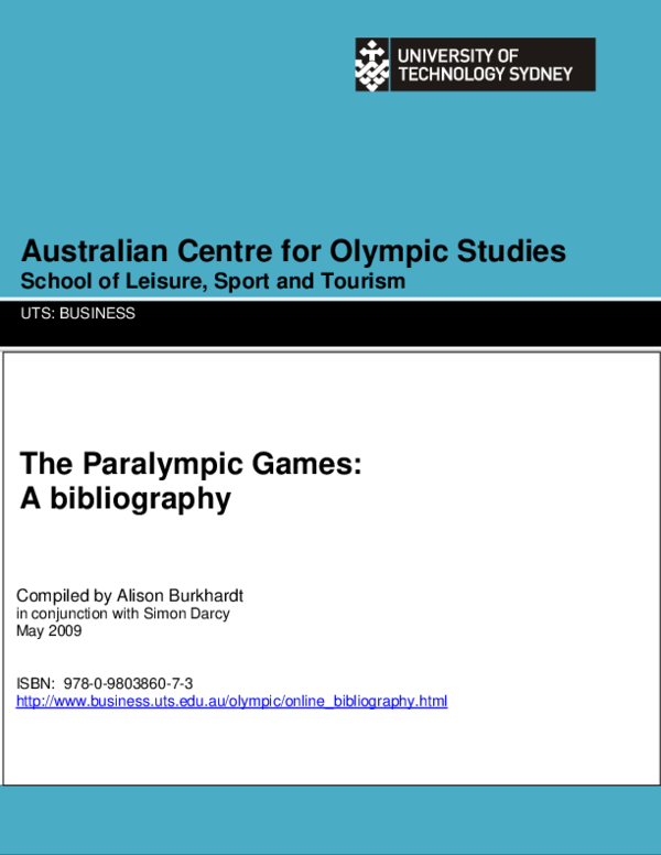 PDF) The Paralympic Games: a bibliography | Simon Darcy