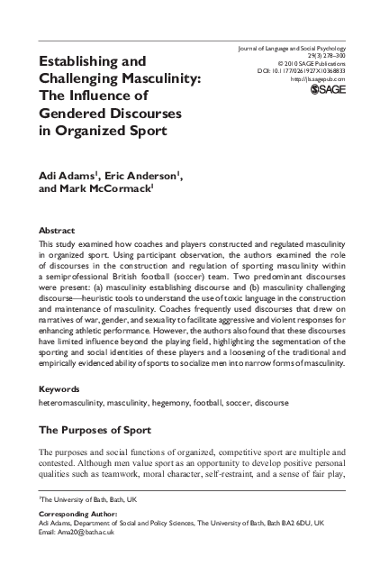 PDF) Establishing and Challenging Masculinity: The influence