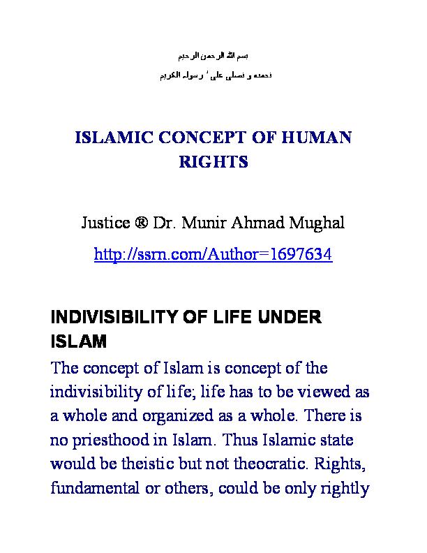 PDF) Islamic Concept of Human Rights | Munir Mughal