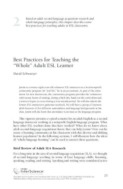 "PDF) Best practices for teaching the ""whole"" adult ESL"
