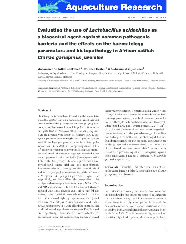 PDF) Evaluating the use of Lactobacillus acidophilus as a biocontrol