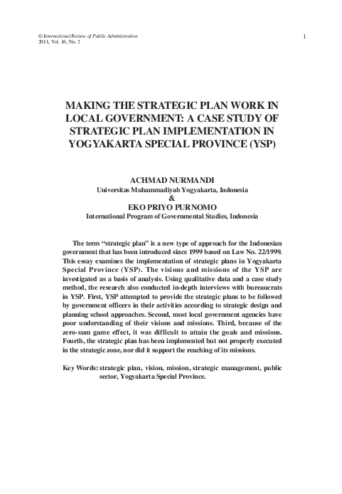PDF) Making the Strategic Plan Work in Local Government: A