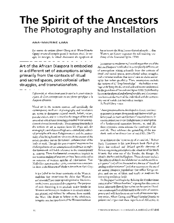 PDF) The Spirit of the Ancestors: The Photography and Installation