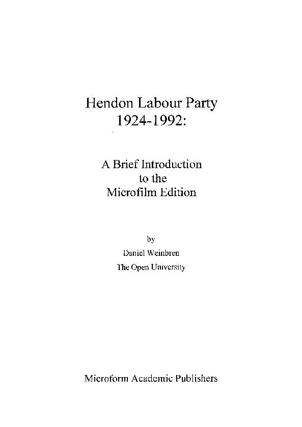 PDF) Hendon Labour Party 1924-1992 | Daniel Weinbren
