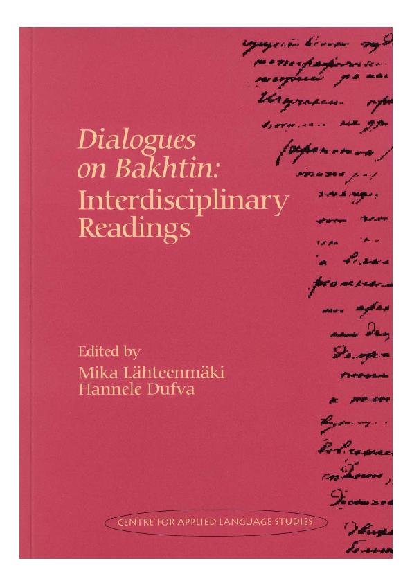 Pdf Dialogues On Bakhtin Interdisciplinary Readings Hannele Dufva Academia Edu