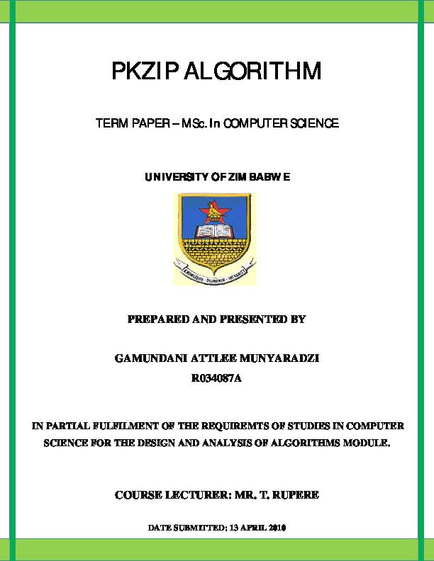 PDF) PKZIP Algorithm | Attlee Munyaradzi Gamundani