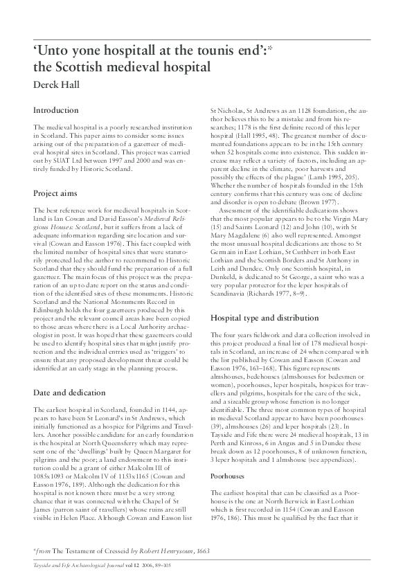 PDF) 'Unto yon hospital at tounis end' - the Scottish