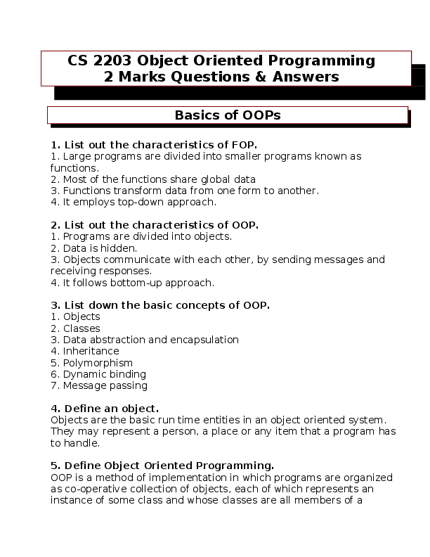 DOC) Object Oriented Programming 2 Mark Questions
