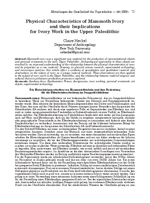 PDF) Physical Characteristics of Mammoth Ivory and Their