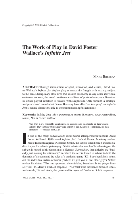 PDF) The Work of Play In David Foster Wallace's Infinite