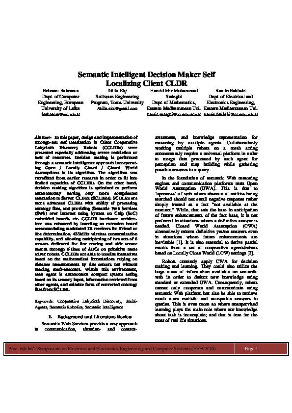 PDF) Semantic Intelligent Decision Maker Self Localizing