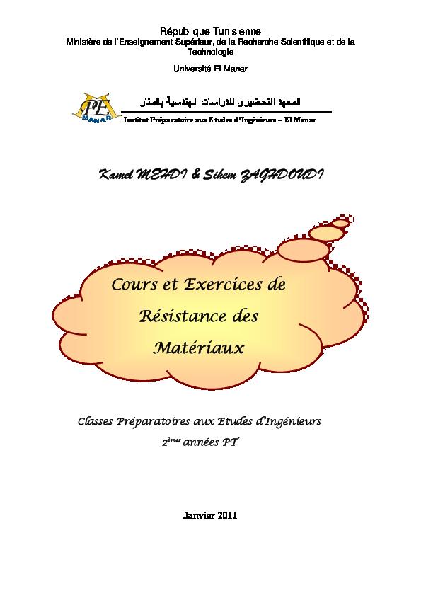 EXERCICES CORRIGES ET RÉSISTANCE DES TÉLÉCHARGER .PDF COURS MATÉRIAUX