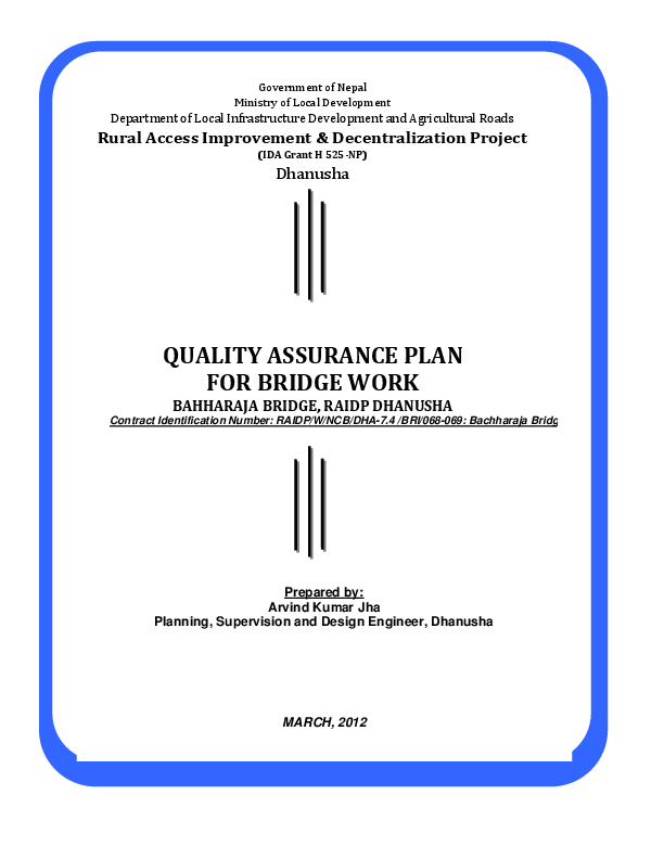 PDF) Quality Assurance Plan(QAP) for bridge construction