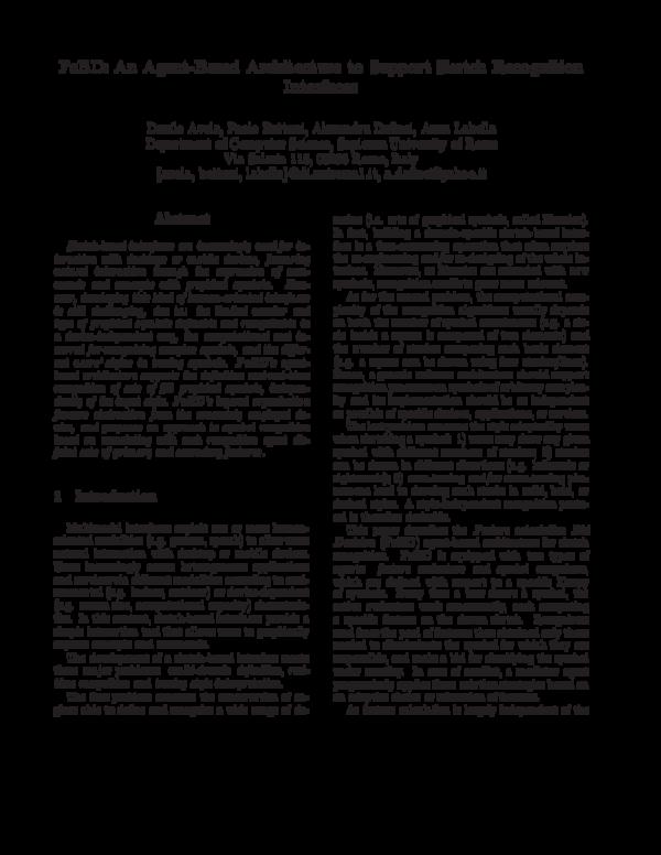Pdf Fcbd An Agent Based Architecture To Support Sketch Recognition Interfaces Alex Dafinei Danilo Avola Anna Labella And Paolo Bottoni Academia Edu