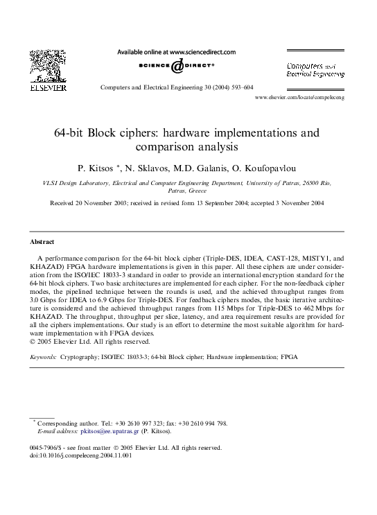 Pdf 64 Bit Block Ciphers Hardware Implementations And Comparison Analysis Paris Kitsos Academia Edu