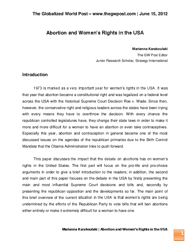 PDF Abortion And Womens Rights In The USA
