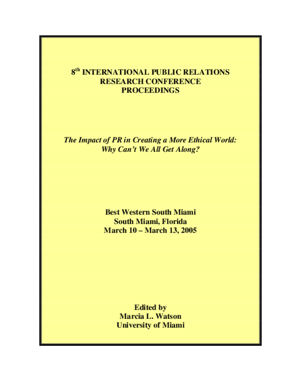 PDF) The Role of Justice In Public Relations Ethics: A