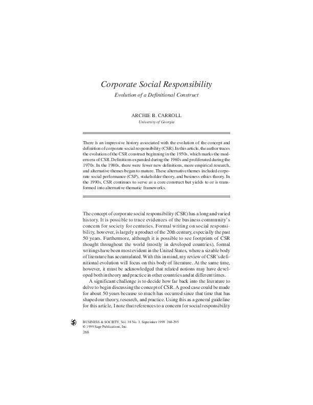 Pdf Corporate Social Responsibility Evolution Of A Definitional