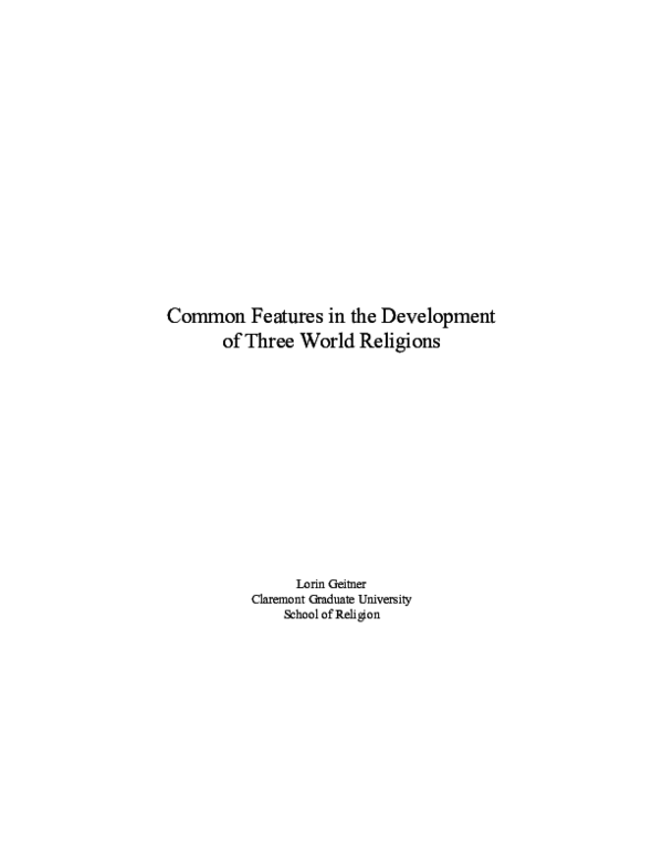 DOC) Common Features in the Development of Three World Religions