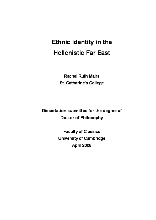 PDF) Ethnic Identity in the Hellenistic Far East | Rachel